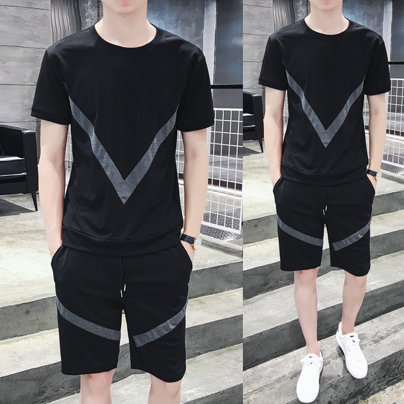 2019 Summer New Style MEN'S Round Neck T-shirt Shorts Leisure Suit Korean-style Youth Sports Two-Piece Set Tz70