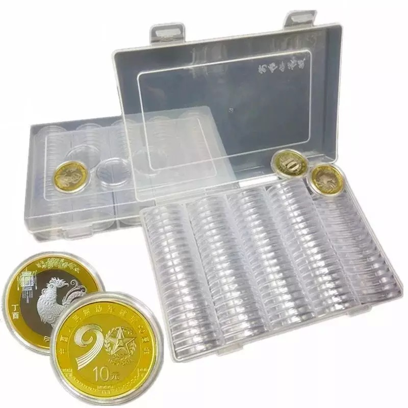 Organizer Box Storage-Capsules Boxed Cases Coin-Box Display Plastic Round Coin-Collecting-Tool