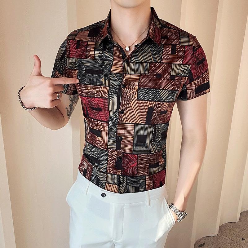 2020 Summer Plaid Men Shirt Plus Size Short Sleeve Casual Slim Business Dress Shirts Chemise Homme Streetwear Camisa Masculina