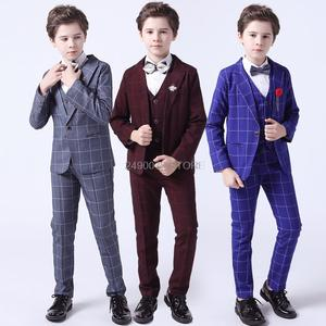 Suit Kids Pants Costume Tuxedo Blazer Vest Dress Flower Prom-Performance Wedding Birthday-Party