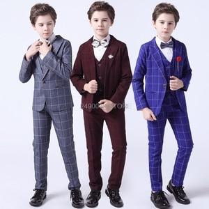 Flower Boys Formal Anzug Suit Kids Wedding Birthday Party Dress Blazer Vest Pants 3pcs Child Tuxedo Prom Performance Costume