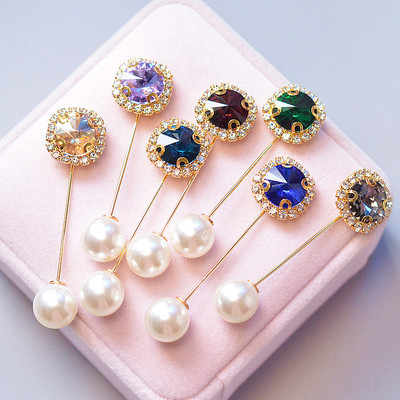 1PC Boutonniere Rhinestone Head Scarf Brooch Hijab Pin Lapel Islamic Wedding Flower Exquisite  Pearl Gifts For Women