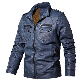 PYJTRL Mens Autumn Winter Fleece Lining Leather Jacket Fashion PU Washed Leather Motorcycle Jaket Men Bomber Camperas Thick Coat 11