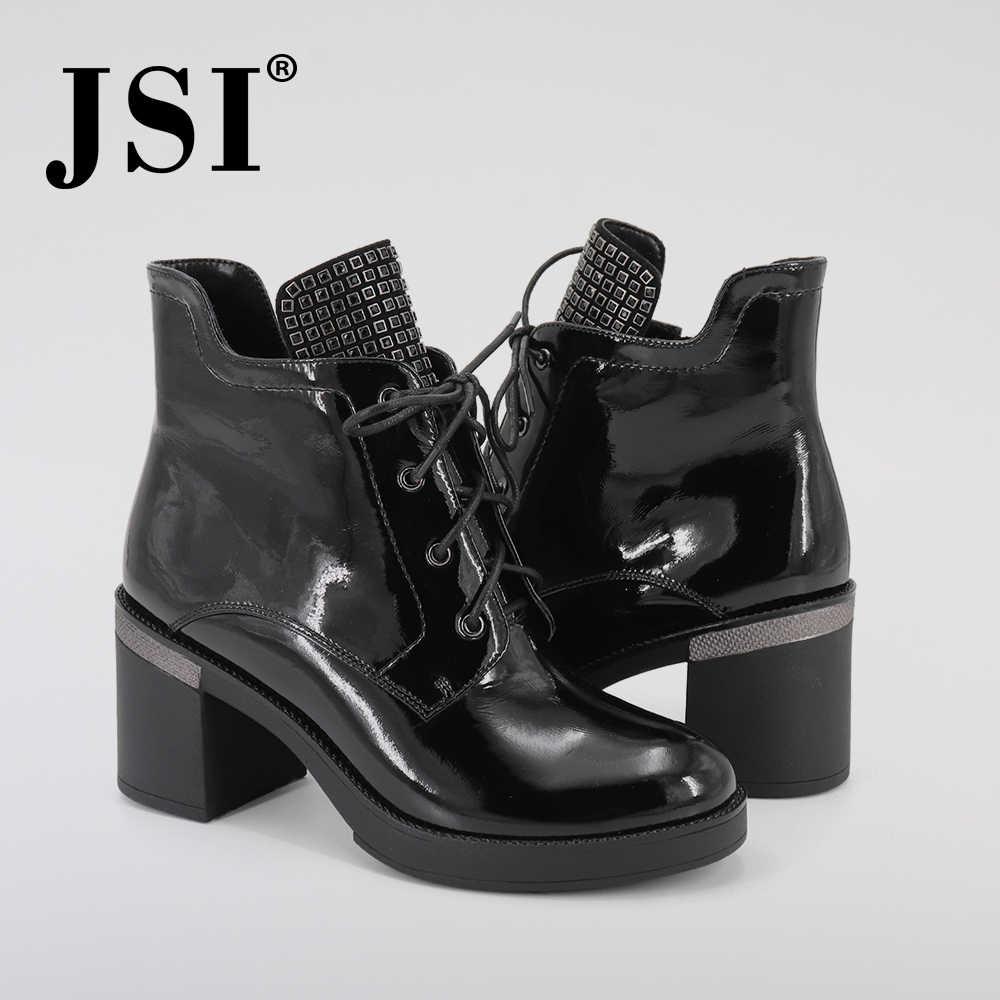 JSI kış kadın botları dantel-up hakiki deri orta buzağı yuvarlak ayak ayakkabı kare topuk yüksek topuk el yapımı katı çizmeler kadın JC343