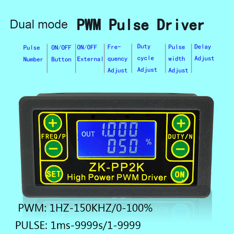 ZK-PP2K PWM DC 3.3~30V 12V 24V Motor Speed Controller Regulator 8A 150W Adjustable LED Dimmer Pulse Frequency Duty Ratio