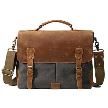 IANLAN Mens Business Briefcase Casual Retro Crazy Horse Leather & Canvas Messenger Bag Crossbody Shoulder Bag IL00575
