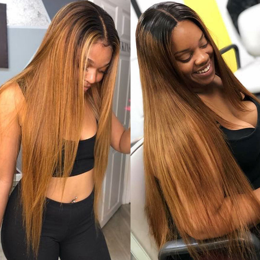 FASHION LADY Lace Closure Wigs Ombre Color Brazilian Human Hair Wigs Bleached Knots 4x4 Inch Closure Wig For Black Women