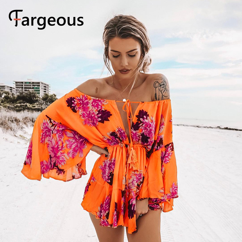 Fargeous Boho Off Shoulder Women Palysuit Floral Beach Summer Short Jumpsuit Romper 2019 Flare Sleeve Sexy Casual Playsuit