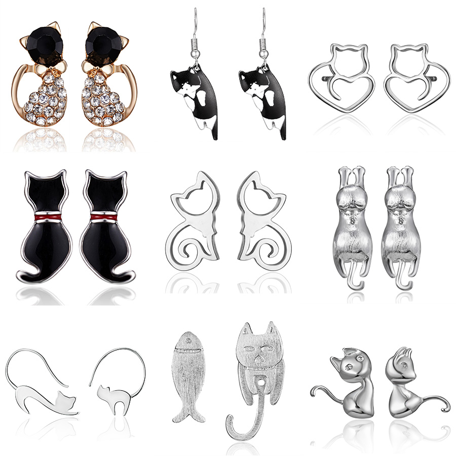 Fashion Shiny Crystal Kitten Stud Earrings Hot Sale Silver Stainless Steel Cat Earrings For Women Girls Jewelry Accessories Gift