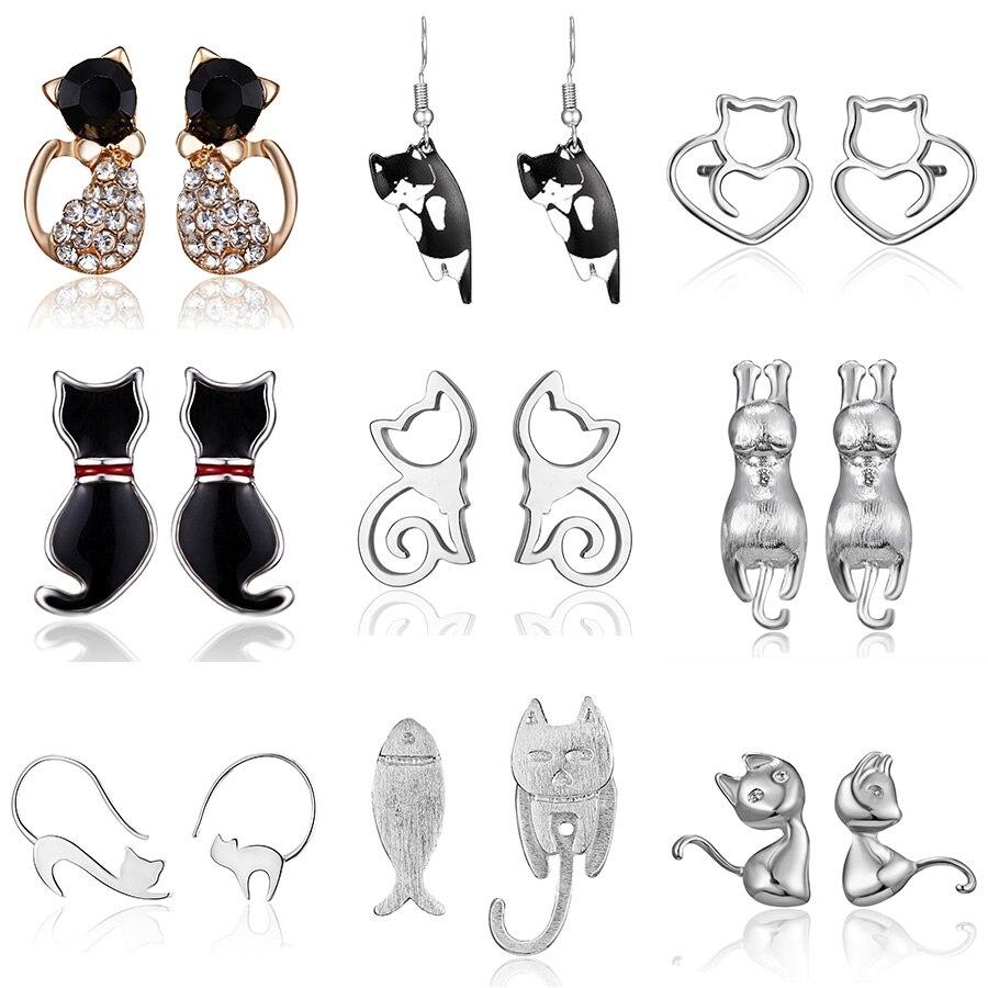 Fashion Shiny Crystal Kitten Stud Earrings Hot Sale Stainless Steel Cat Earrings For Women Girls Jewelry Accessories Gift