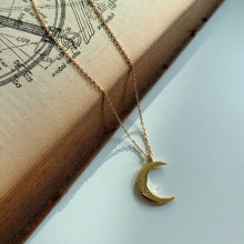 Japanese and Korean fashion simple personality high quality sterling silver 925 womens moon necklace jewelry