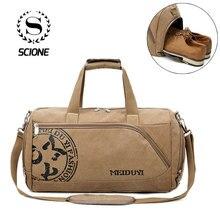 Scione Vintage Sport Reistassen Mannen Canvas Bagage Hand Crossbody Tas Grote Casual Duurzame Afdrukken Schouder Schoen Pack Opslag