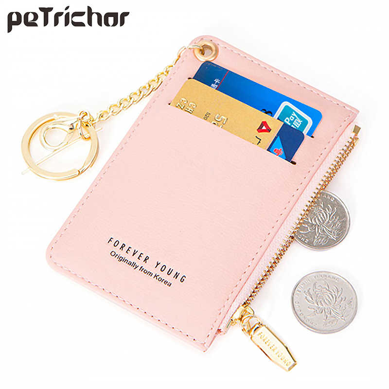 Slim Leather Coin Purse Pouch Change Credit Card Holder Zipper Wallet with Key Chain Mini Size
