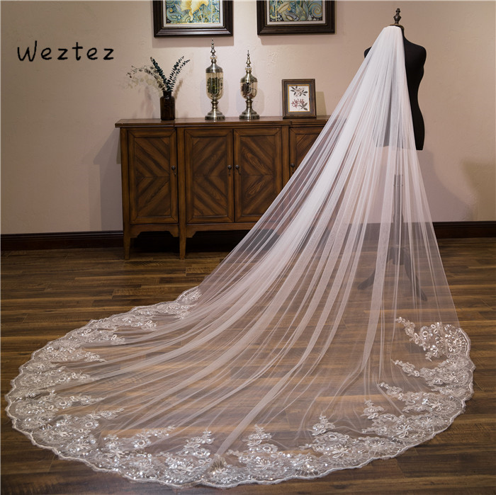 One Layers Wedding Veil With Comb Long Bridal Veil Luxury 3 Meters Bling Sequins Full Edge Lace TS023