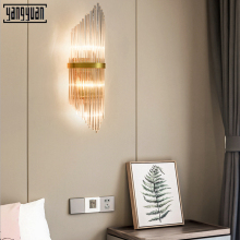 Modern Sconce Lamp Led Wall Lights Luxury Golden Crystal Light Fixture Bedside Living Room Bedroom mirror light
