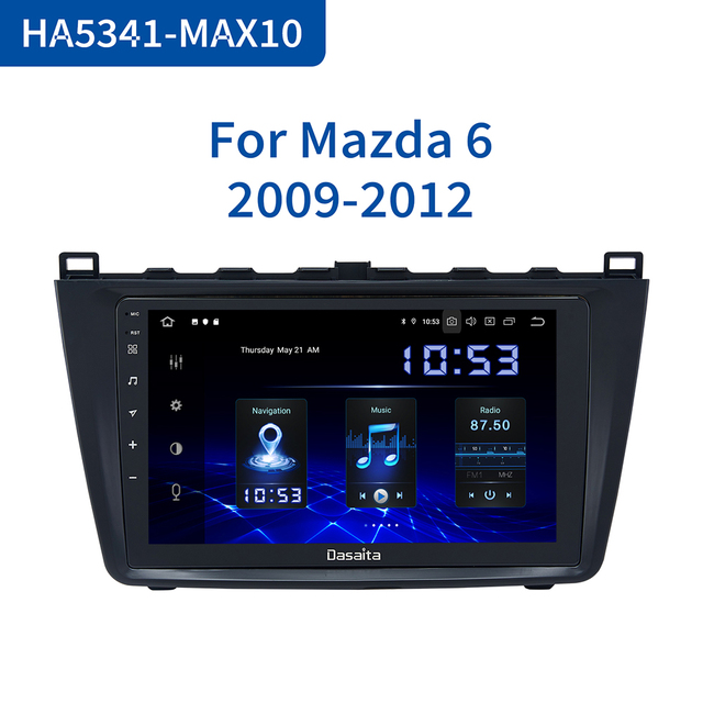 Dasaita radio estéreo con GPS para coche, Pantalla táctil IPS de 9 pulgadas, Android 10,0, Bluetooth, TDA7850, 4GB de RAM, para Mazda 6, 2009, 2010, 2011, 2012