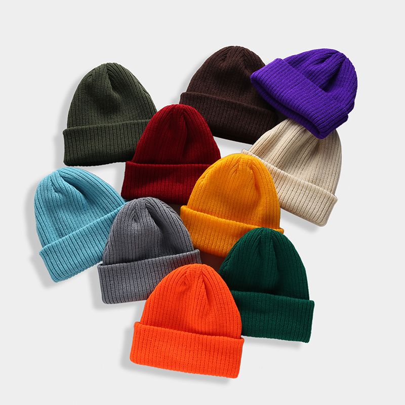 Winter Beanie Skullcap Brimless Hats Hip Hop Street Knitted Hat Women Men Acrylic Unisex Casual Solid Pumpkin Female Melon Cap