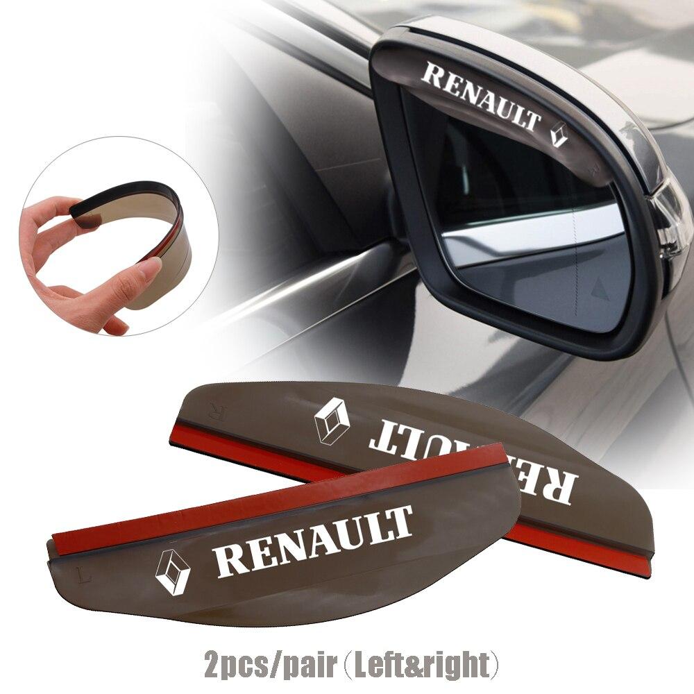 1คู่สีดำรถกระจกมองหลังRainproof Eyebrowฝาครอบยืดหยุ่นPVC RainใบมีดRainสำหรับRenault Twingo Clio Capturฯลฯ.