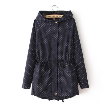 European style Spring Autumn women polka dots drawstring hooded trench, female fashion plus size loose casual windbreaker coat 2