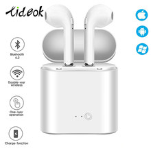 Bluetooth Earphone I7s Tws Olahraga Kebugaran Wireless Headset Stereo Nirkabel Bluetooth Earphone dengan Pengisian Kotak untuk Semua Ponsel(China)