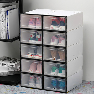 Image 4 - 6ps transparente caixa de sapato engrossado transparente dustproof sapata caixa de armazenamento pode ser empilhada combinação sapato armário sapato organizador