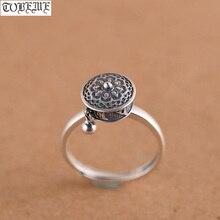 Ручной работы 925 серебро тибетское Молитвенное Колесо кольцо буддистское Ом кольцо с мантрой на удачу женское кольцо
