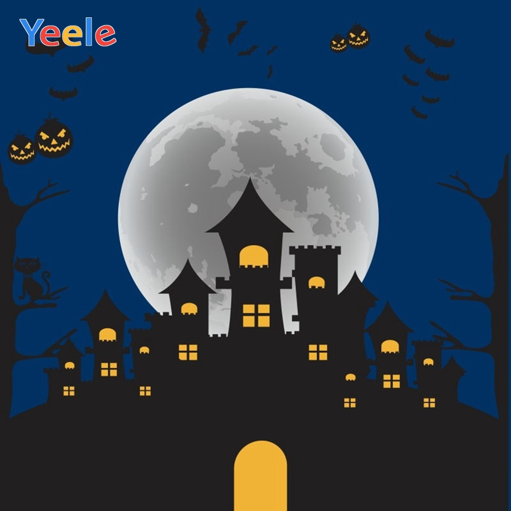 Yeele Halloween Backdrop Old Castle Tree Forest Mountain Pumpkin Tombstone Cartoon Photography Background For Photo Studio in Background from Consumer Electronics