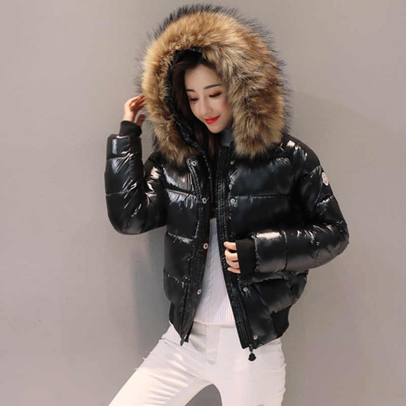 Black Fur coat Big fur collar cotton winter jacket women   parkas   short thickening slim fashion down cotton jacket woman student