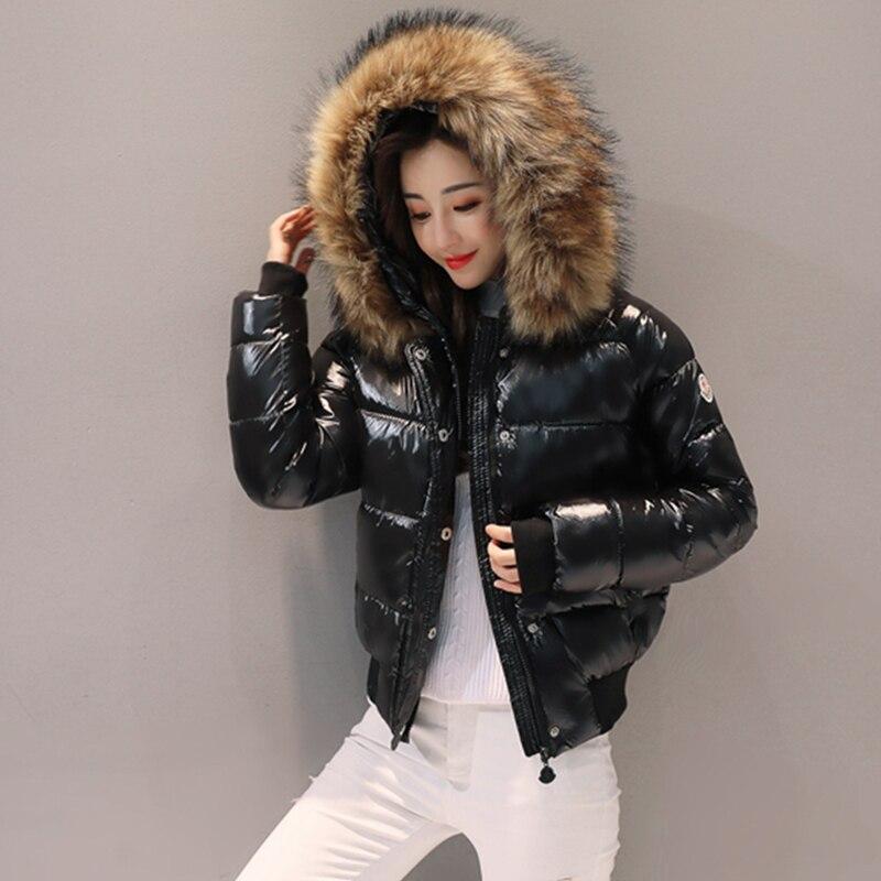Manteau de fourrure noir grand col de fourrure coton veste d'hiver femmes parkas court épaississement mince mode bas coton veste femme étudiant