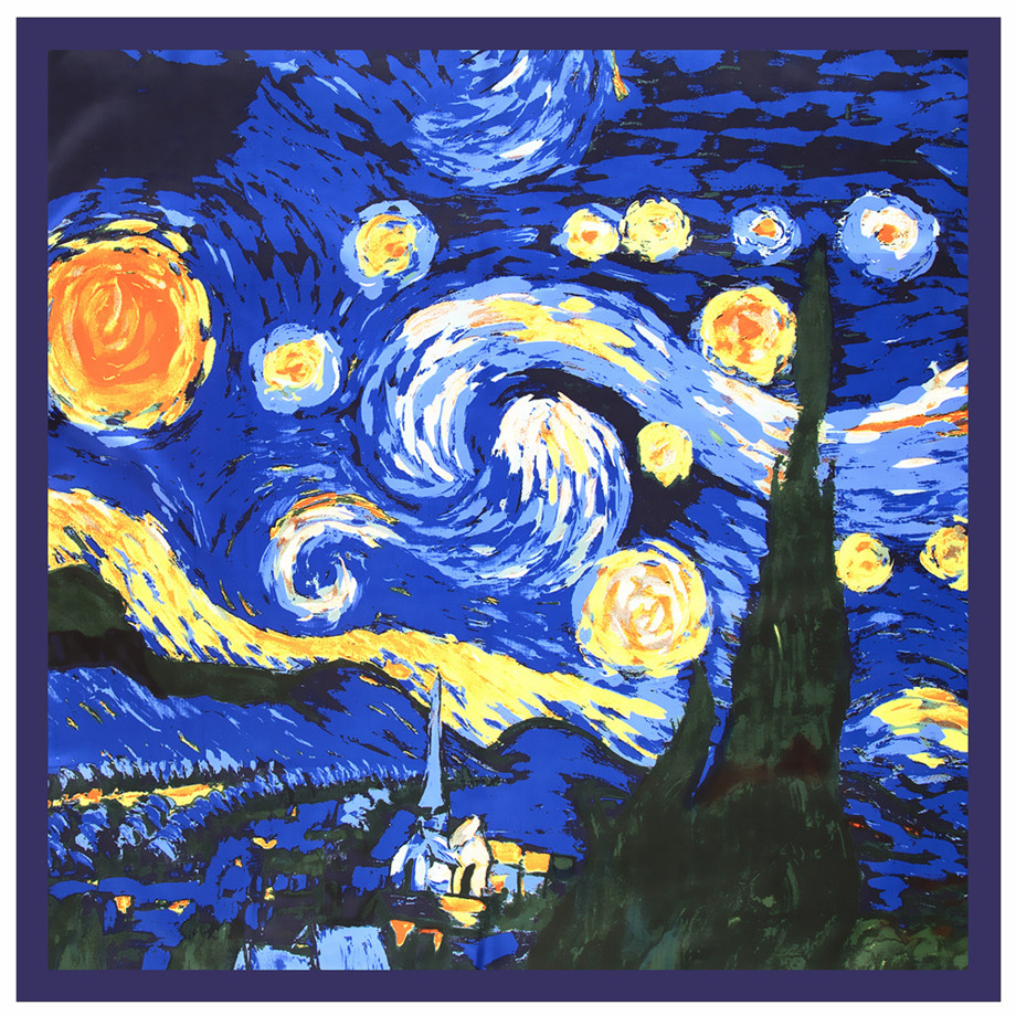 130cm Van Gogh's Oil Painting《The Starry Night》2020 Brand Scarf Twill Silk Square Scarf Women Kerchief Shawl Scarves For Ladies