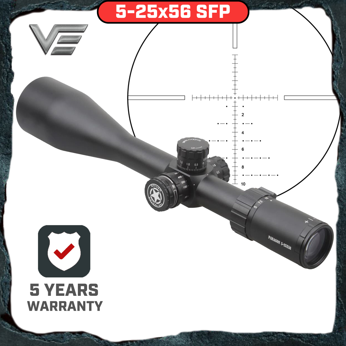 Vector Optics Paragon 5-25x56 Tactical Riflescope Telescopic Sight With High Quality German Glass Reticle , Honeycomb Sunshade