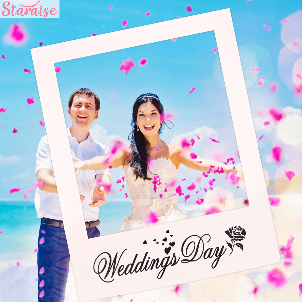 Staraise Mr Mrs Just Married Fun Photo Booth Props Bride Groom Wedding Decoration Photobooth Bridal Shower Event Party Supplies