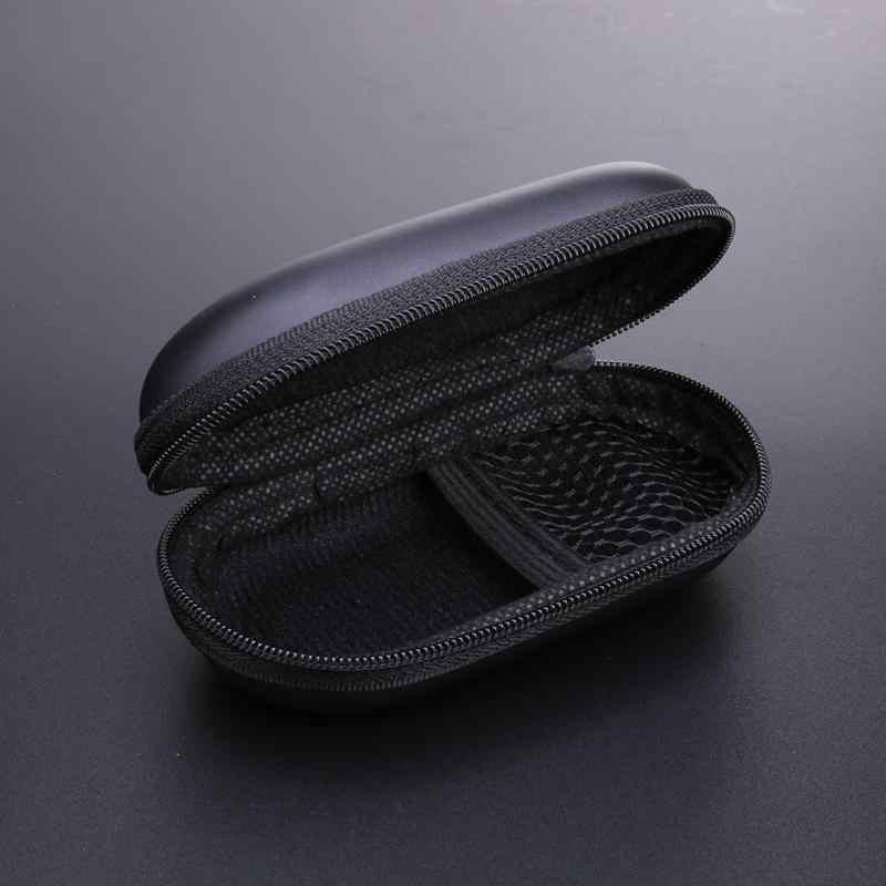 Ovale Stijl EVA Hoofdtelefoon Draagtas Hard voor Power Beats PB In-Ear Oortelefoon charing kabel Pouches Opslag Gevallen Mini Zwart doos