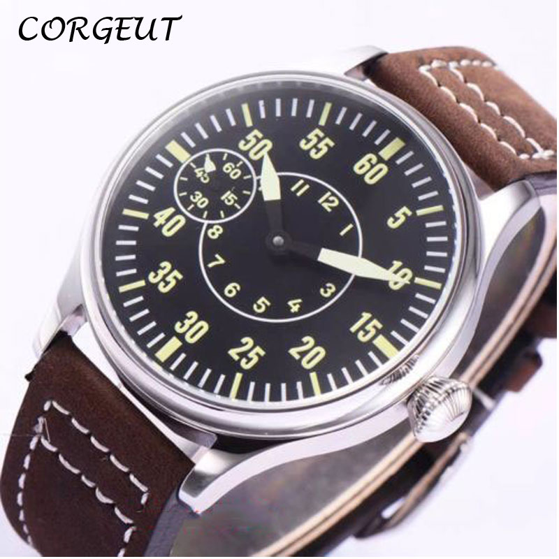 44mm CORGEUT Black Dial 6497 Hand Winding Mechanical Men's Watches Of The Famous Luxury Brand Movement Men's Watch