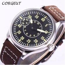 44mm CORGEUT czarna tarcza 6497 ręczne nakręcanie mechaniczne męskie zegarki słynnej luksusowej marki ruch męski zegarek