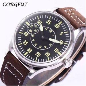 Image 1 - 44mm CORGEUT czarna tarcza 6497 ręczne nakręcanie mechaniczne męskie zegarki słynnej luksusowej marki ruch męski zegarek