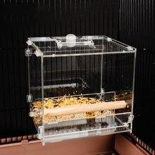 Mangeoire pour oiseaux acrylique Transparent perroquet boîte à nourriture anti-déversement tasse oiseau mangeoire automatique Cage à oiseaux accessoires