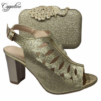 Capputine Fashion Women Pumps Shoes And Bag Set To Match Set Hot Sale Italian Gold Color Shoes With Matching Bags For Party