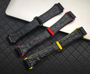 Image 2 - 25mm men nylon fabric with leather Watchband For Richard Watch Mille Strap band Bracelet buckle for spring bar version free tool