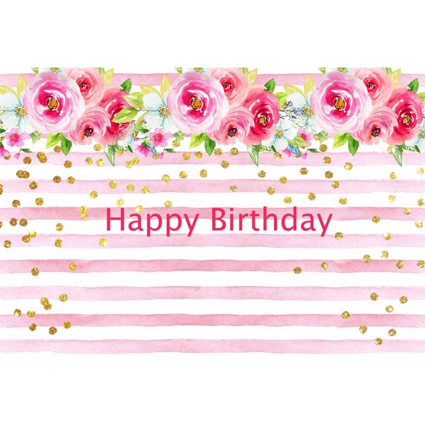 7x5ft happy birthday party pink white stripes gold spots flowers custom photo studio backdrop background vinyl 220cm x 150cm background aliexpress aliexpress
