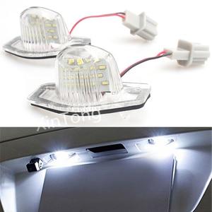 2 PCS White Number License Plate Lamps 18 LED Light For Honda Crv Fit Jazz Hrv Frv cr-v Odyssey Stream Insight FR-V Error Free(China)