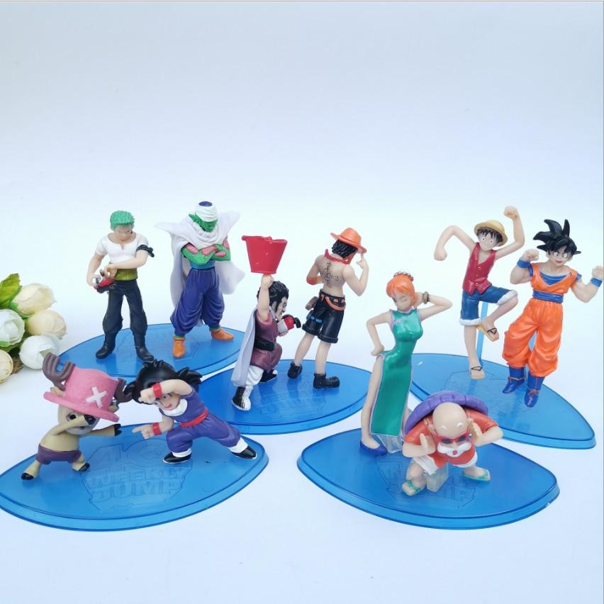 10PCS/set Hot Sale Figuras Dragon Ball One Piece Cartoon Action Figures 10cm Toys Gift Ornaments Decoration Anime