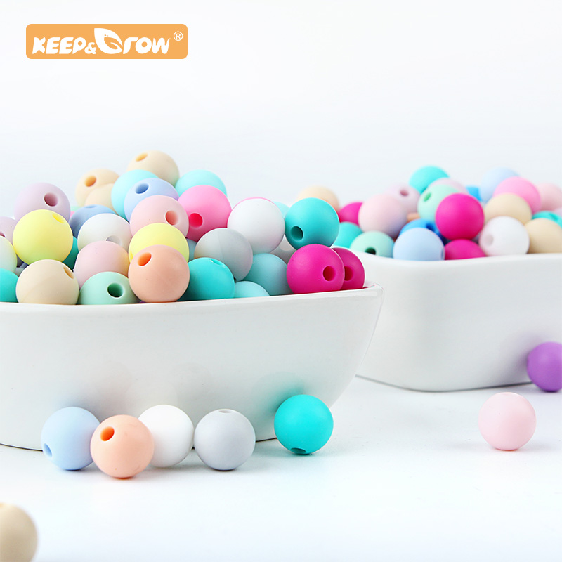 Keep&Grow 9mm Round Silicone Beads Food Grade Rodent DIY Baby Pendant Necklace Baby Teether Accessories