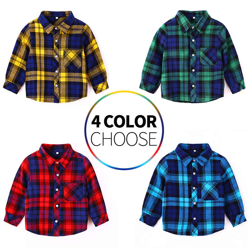 Boys Shirts Fashion Classic Casual Plaid  Kids  Spring Autumn Wear Clothes Girls Children Tops Toddler Clothing for 2-8 Years