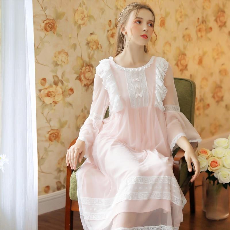 Roseheart Women Fashion Female Pink Sexy Sleepwear Nightdress Long Lace O Neck Nightwear   Sleepshirts     Nightgown   Luxury Sleepwear