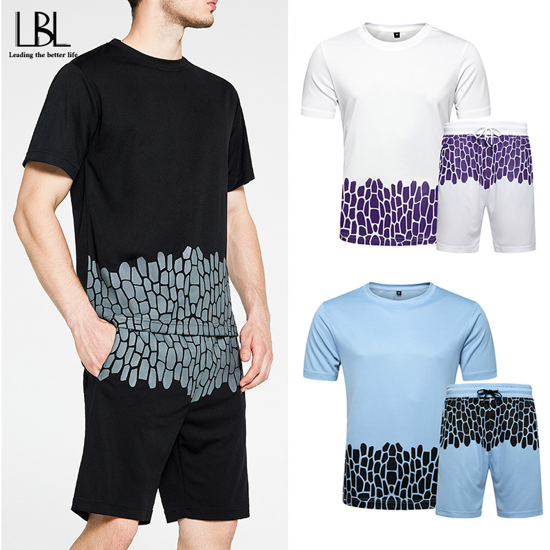 2020 Tracksuit Men Summer New Arrival Casual Men's Sets O-Neck T Shirts + Shorts Two Pieces Set Print Tracksuits Male Sportswear