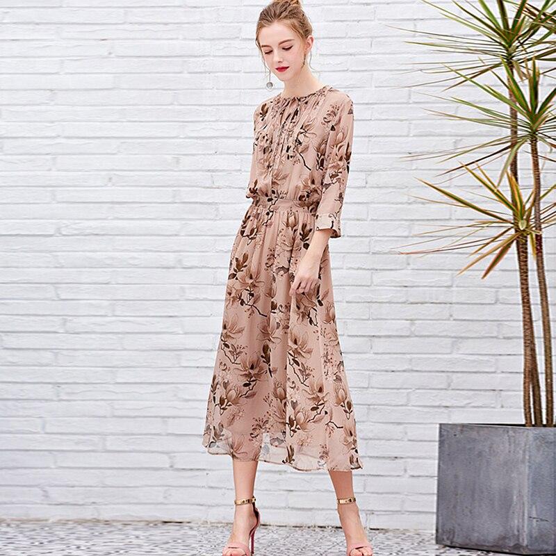 100% Silk Dress Women Lace-up Decoration Printed Mid-sleeve Silk Dress O Neck Half Sleeves High Elastic Waist New Fashi