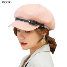 SUOGRY New Spring Autumn Women Hat Solid Plain Newsboy Cap Artist Berets Fashion Belt Octagonal Ladies Beret