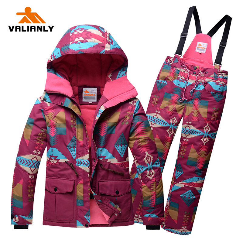 2019 Kids Girls Ski Suit Winter Snowsuit High Quality Outdoor Hooded Ski Jacket Pants 2 Pieces Ski Suits Snowboard Waterproof