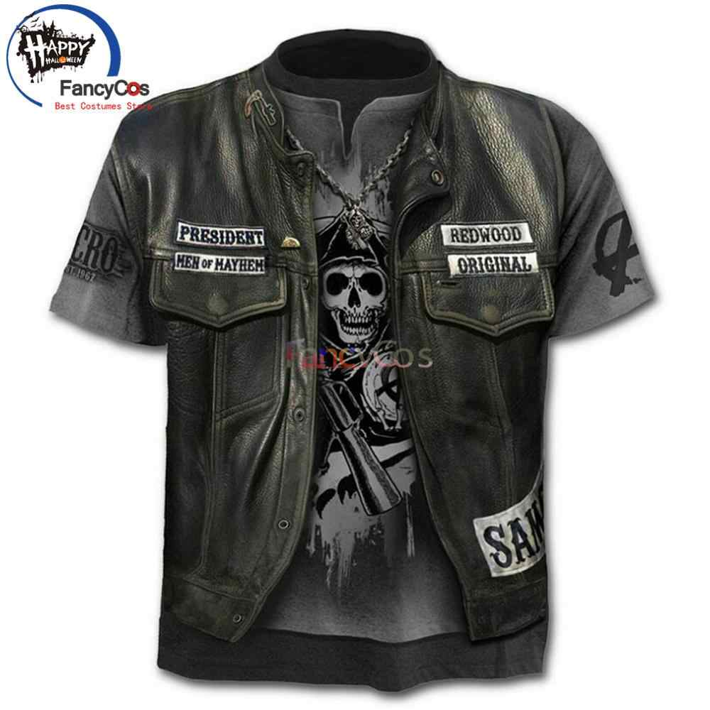Sons of Anarchy T-Shirt Costume Cosplay Punk Della Maglia 3D Stampato Rock Gilet Uomo Estate Film & TV Moto T Shirt manica corta